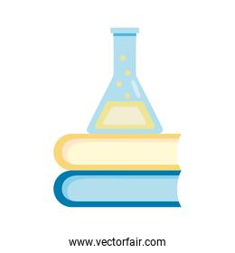 medical tube test flask laboratory in pile books flat icon