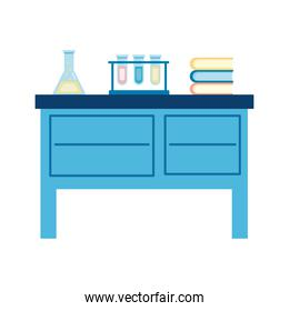 medical tube tests flasks and books in laboratory desk flat icons