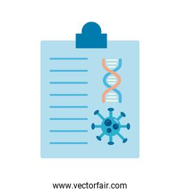 covid19 particle and dna molecule in medical order flat style icon