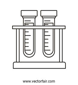medical tube tests in base laboratory line style icon