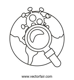 covid19 particle and magnifying glass in earth planet line style icon