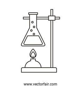 medical tube test flask in burner laboratory line style icon