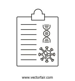 covid19 particle and dna molecule in medical order line style icon