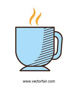 icon of hot tea cup, hand draw style