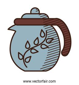 japanese teapot icon, hand draw style