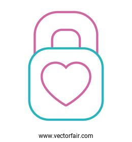 padlock with heart icon, line style