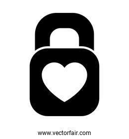 padlock with heart icon, silhouette style