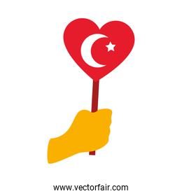 hand holding a heart with turkey flag, flat style
