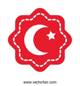 icon of seal with turkey flag design, flat style