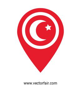 location pin with turkey flag design, flat style