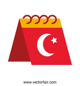 icon of calendar with turkey flag design, flat style