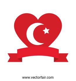 decorative ribbon and heart with turkey flag design, flat style