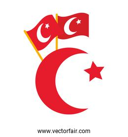 crescent moon with turkey flags, flat style