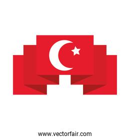 decorative ribbon with turkey flag design, flat style