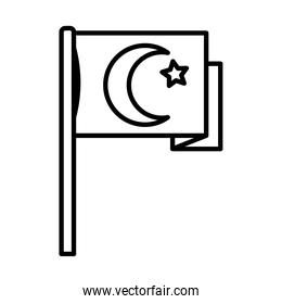 icon of turkish flag, line style