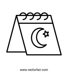 icon of calendar with turkey flag design, line style