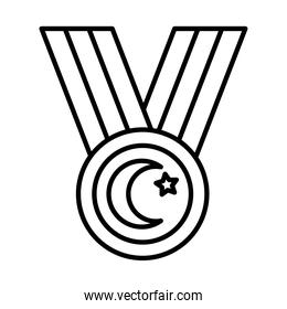 medal with turkey flag design, line style