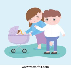 pregnancy and maternity, happy parents with baby in pram