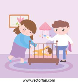 pregnancy and maternity, happy mom and dad with baby in crib