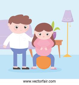 pregnancy and maternity, cute pregnant woman sitting on fitball and father in the room