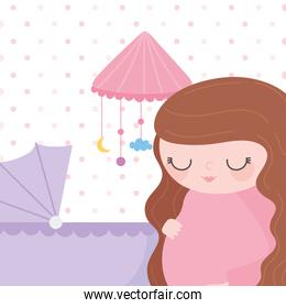 pregnancy and maternity, cute pregnant woman with baby crib mobile and pram