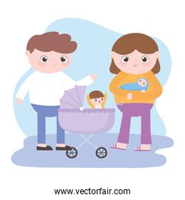 pregnancy and maternity, parents with baby and little boy in the pram