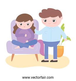 pregnancy and maternity, cute pregnant woman sitting on chair and husband cartoon