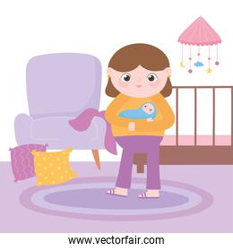 pregnancy and maternity, mom with baby in hands in the room with crib and chair