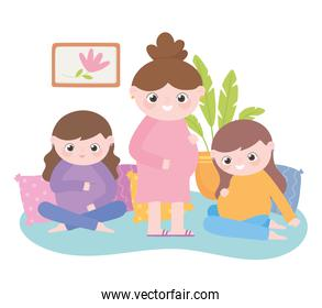 pregnancy and maternity, group cute pregnant women cartoon