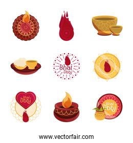 happy bhai dooj, celebrated by hindus traditional culture set icons