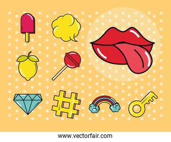pop art comic style, fashion patch badges with lips candy fruit, flat icons set