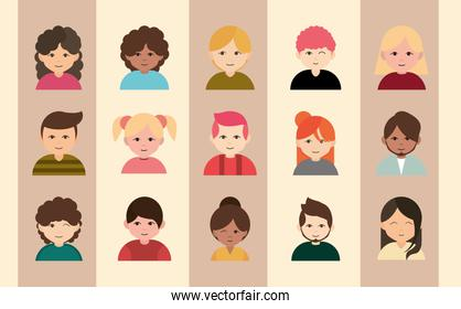 diversity multiracial, multiethnic group people icons flat style