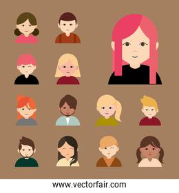 diverse group female and male cartoon flat icons collection