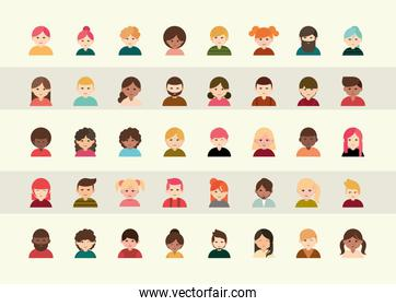 people diverse faces of different ethnicity flat icons set
