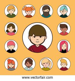 diverse people group cartoon characters, round line icons set