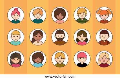 diversity multiracial, multiethnic group people icons round line