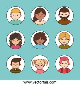 diverse group female and male cartoon, round line icons collection