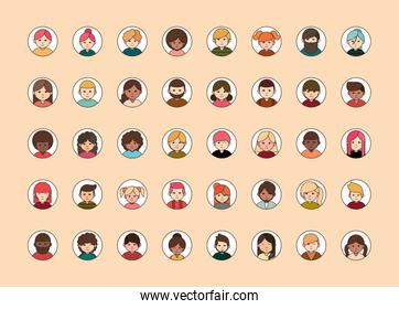 people diverse faces of different ethnicity, round line icons set