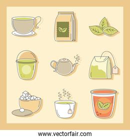tea, herbal kettle product pack leaf cups and sugar icons line and fill