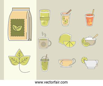 tea icons, contains such as cup of tea, lime, sugar and leaf line and fill