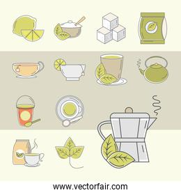 tea, set of icons lime teapot sugar cups leaf, line and fill style