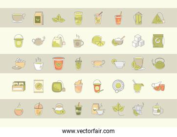 tea, fresh beverage traditional teapot cups teabag sugar leaf, icons set line and fill