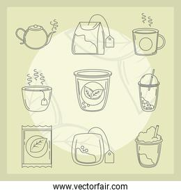 tea, herbal kettle product pack leaf cups and sugar icons line style