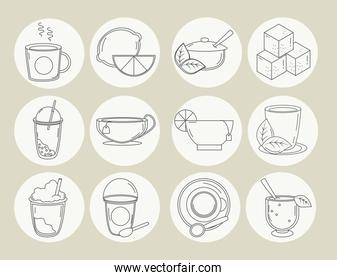 tea icons, contains such as cup of tea, lime, sugar and leaf line style