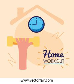 home work out lettering with hand lifting dumbbell