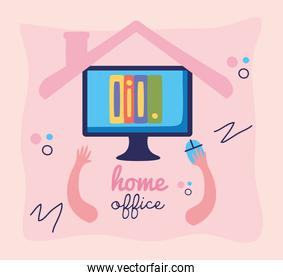 home office lettering with person using desktop