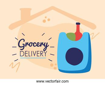 grocery delivery lettering with shopping bag in house