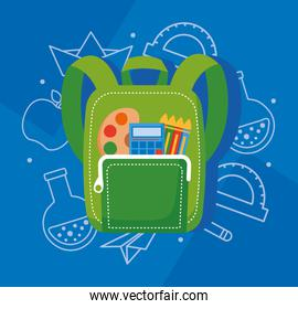 green school bag with supplies elements icons