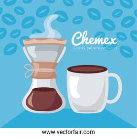 coffee brewing methods poster with cup and chemex maker