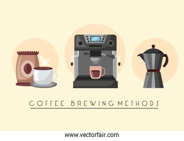 coffee brewing methods poster with makers utensils